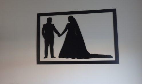 Silhouette bruidspaar