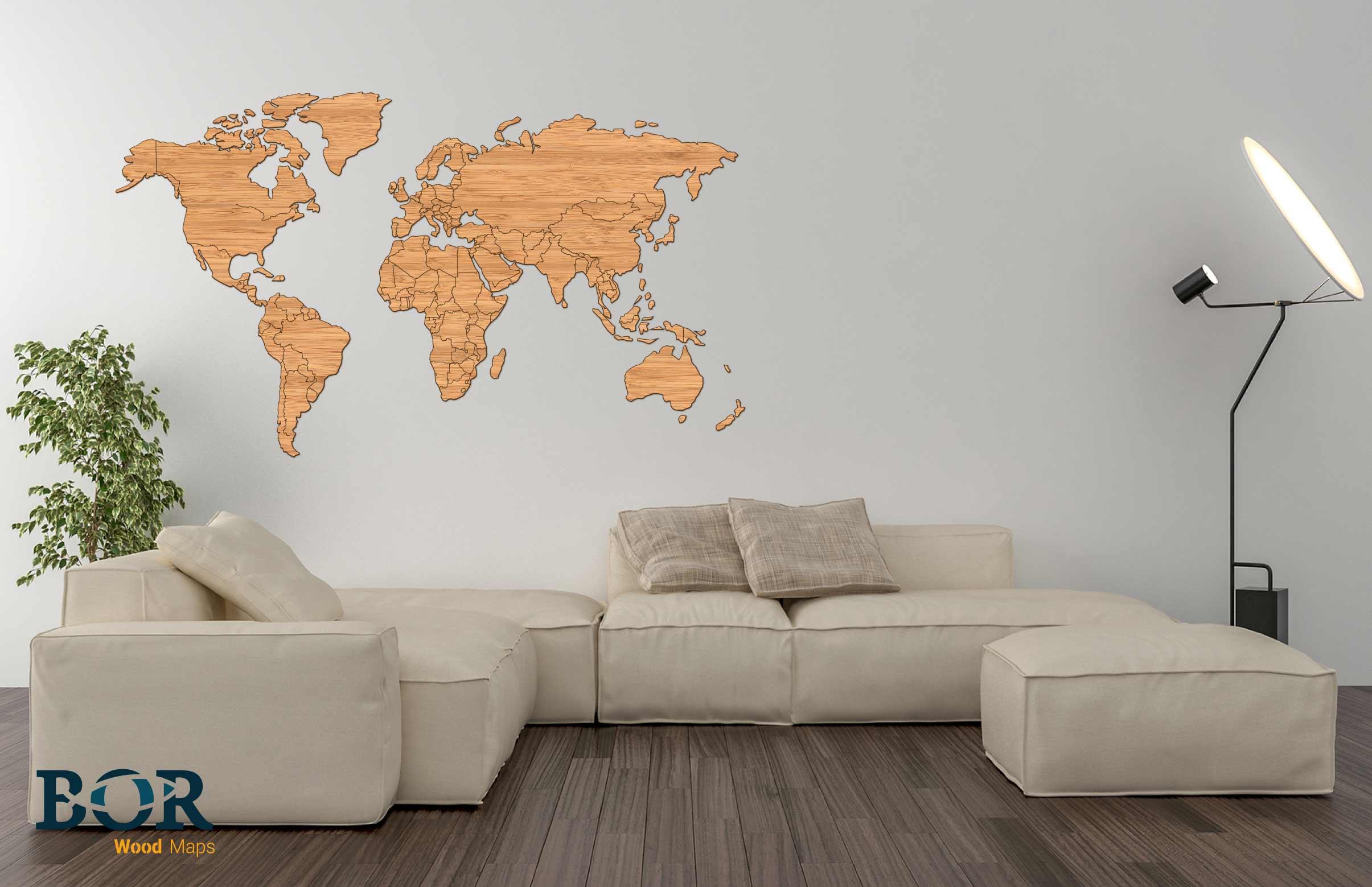 Verbazingwekkend Wereldkaart van hout Bamboe – Bor Lasertechniek FK-04