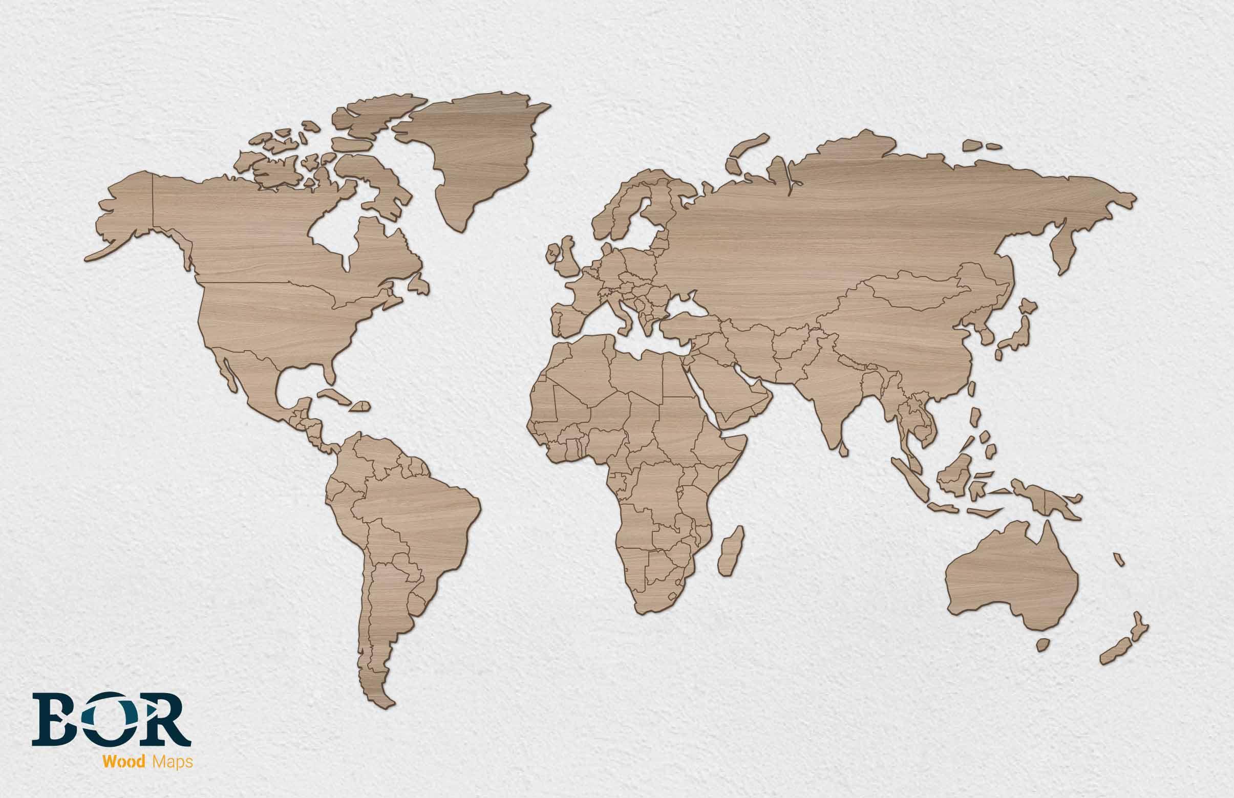 Wereldkaart van hout eiken bor lasertechniek wereldkaart van hout eiken thecheapjerseys Choice Image